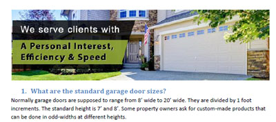 FAQs - Garage Door Repair Wheeling